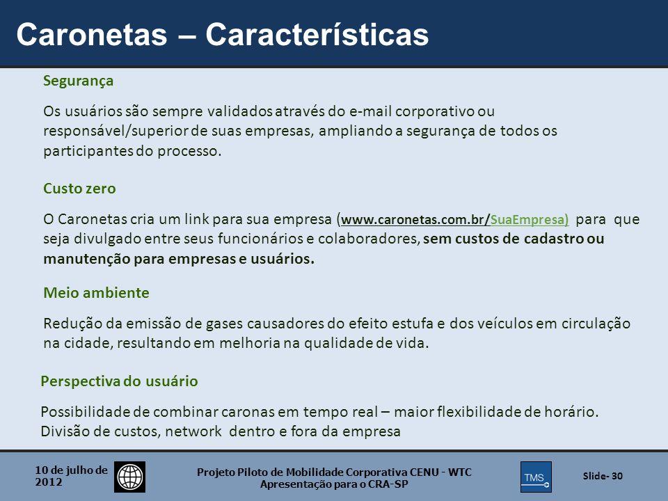 Caronetas – Características