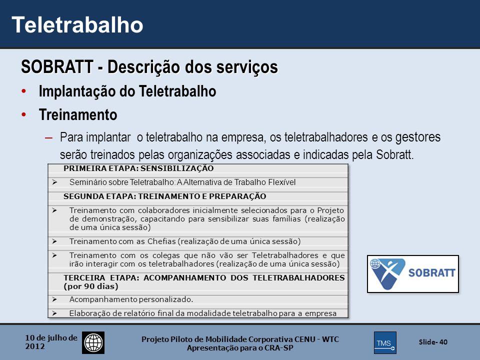 Teletrabalho SOBRATT - Descrição dos serviços
