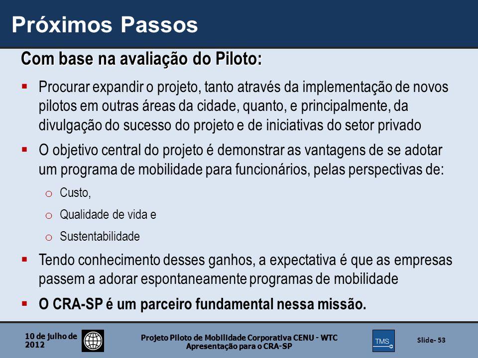Próximos Passos Com base na avaliação do Piloto: