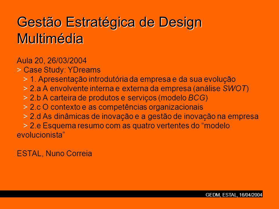 Gestão Estratégica de Design Multimédia Aula 20, 26/03/2004 > Case Study: YDreams > 1.