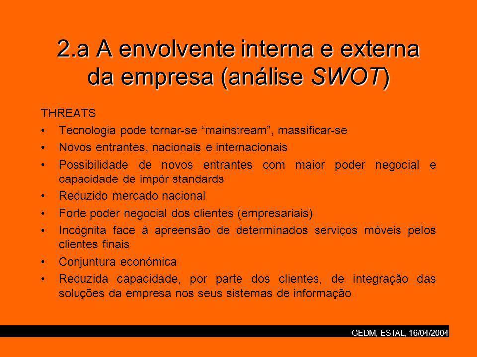 2.a A envolvente interna e externa da empresa (análise SWOT)