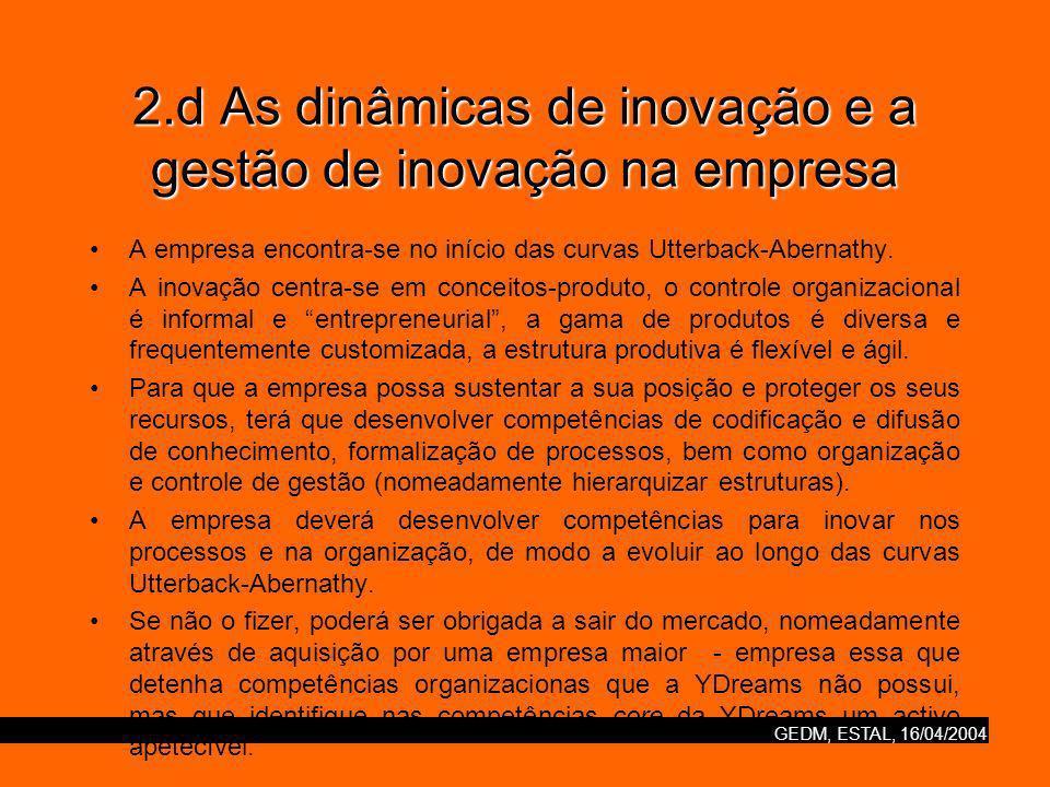 2.d As dinâmicas de inovação e a gestão de inovação na empresa