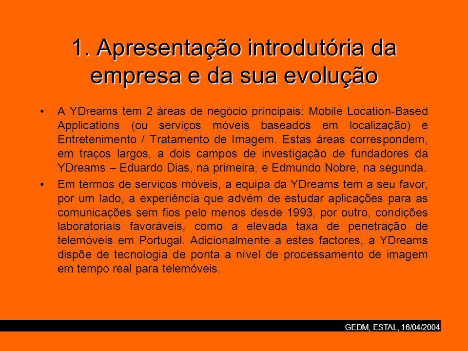 1. Apresentação introdutória da empresa e da sua evolução