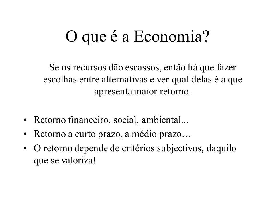 O que é a Economia Se os recursos dão escassos, então há que fazer escolhas entre alternativas e ver qual delas é a que apresenta maior retorno.