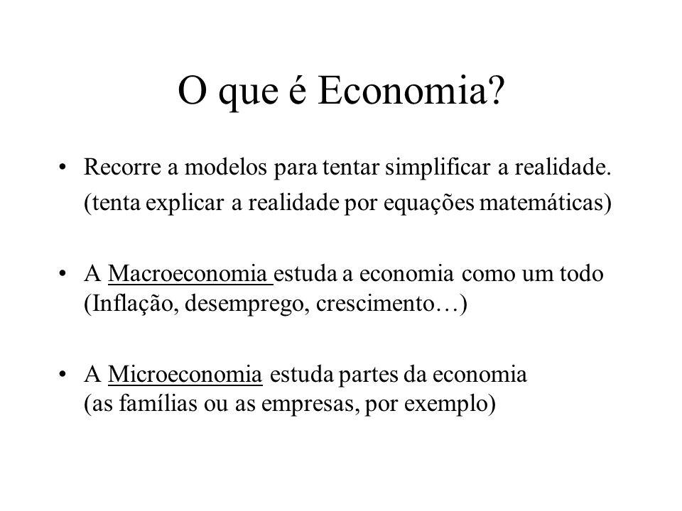 O que é Economia Recorre a modelos para tentar simplificar a realidade. (tenta explicar a realidade por equações matemáticas)