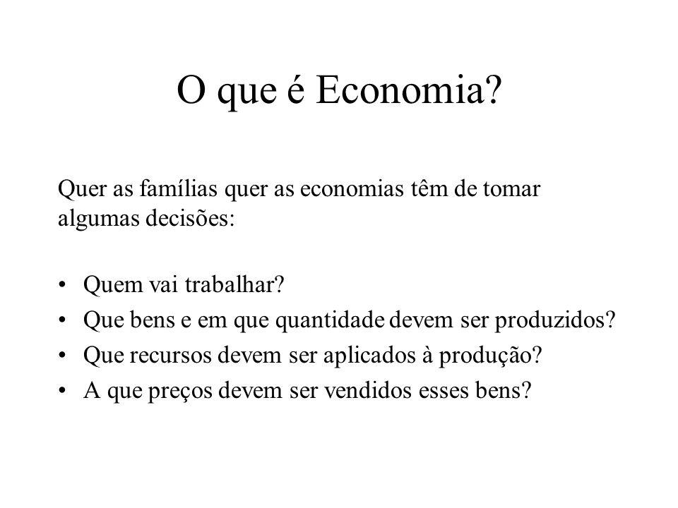 O que é Economia Quer as famílias quer as economias têm de tomar algumas decisões: Quem vai trabalhar
