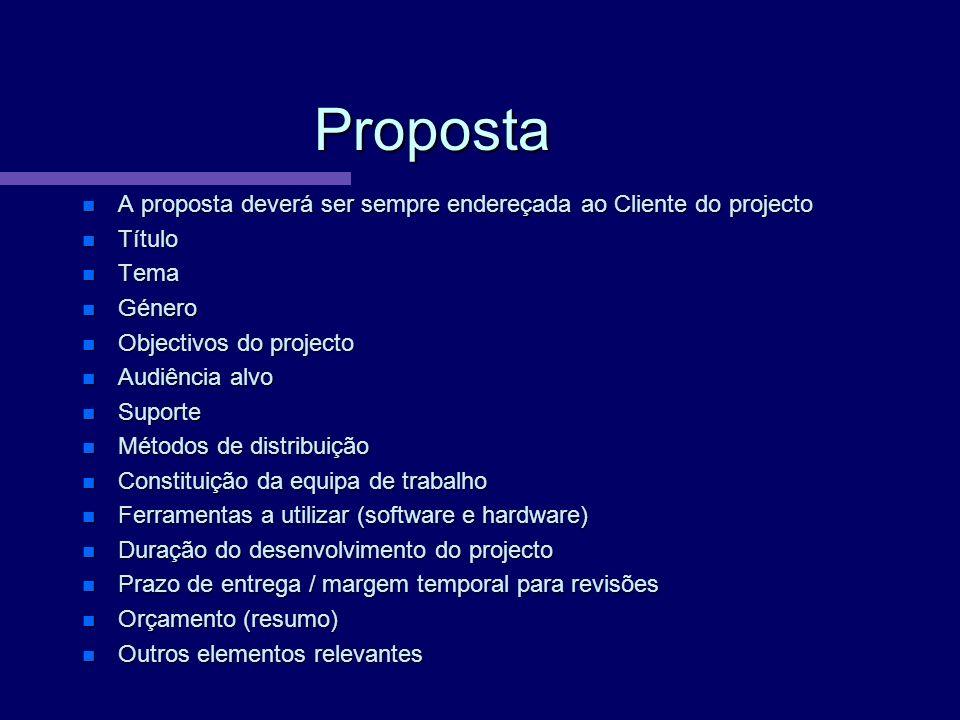 Proposta A proposta deverá ser sempre endereçada ao Cliente do projecto. Título. Tema. Género. Objectivos do projecto.