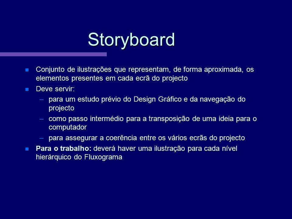 Storyboard Conjunto de ilustrações que representam, de forma aproximada, os elementos presentes em cada ecrã do projecto.