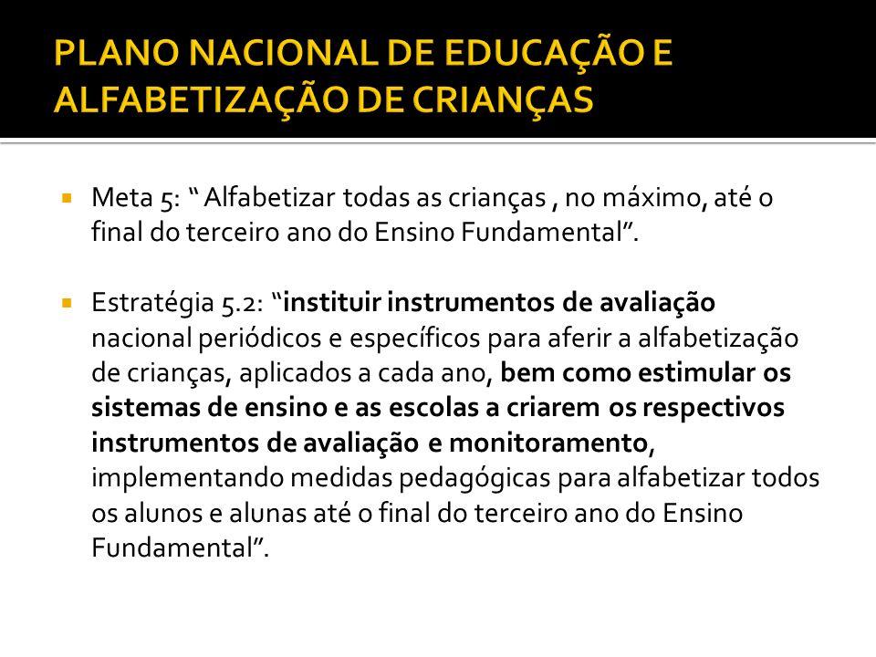 PLANO NACIONAL DE EDUCAÇÃO E ALFABETIZAÇÃO DE CRIANÇAS