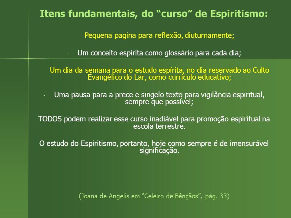 Itens fundamentais, do curso de Espiritismo: