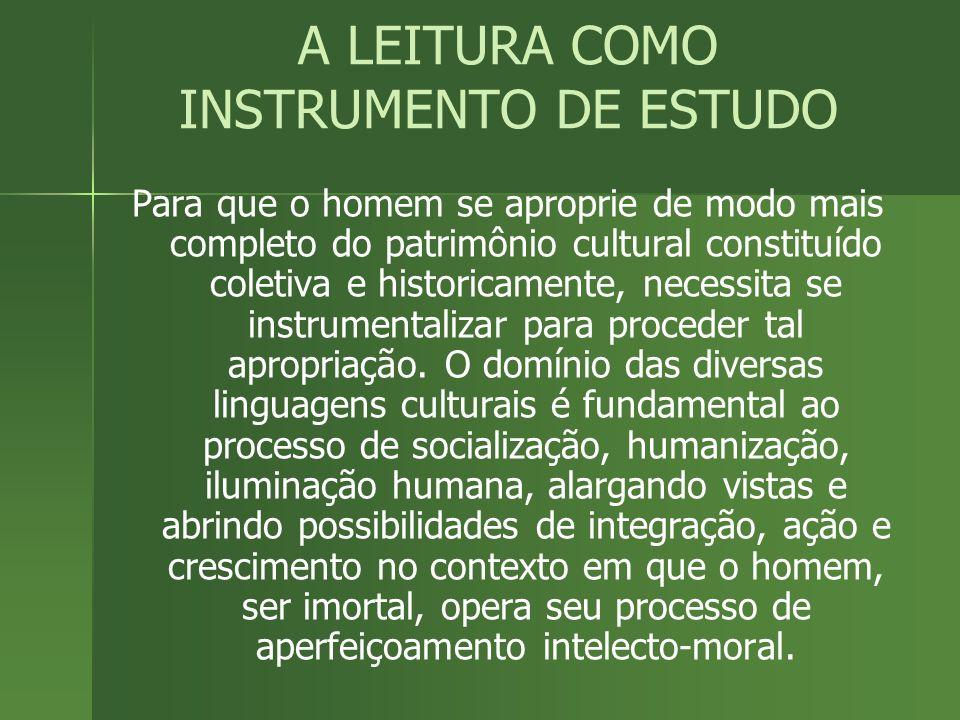 A LEITURA COMO INSTRUMENTO DE ESTUDO