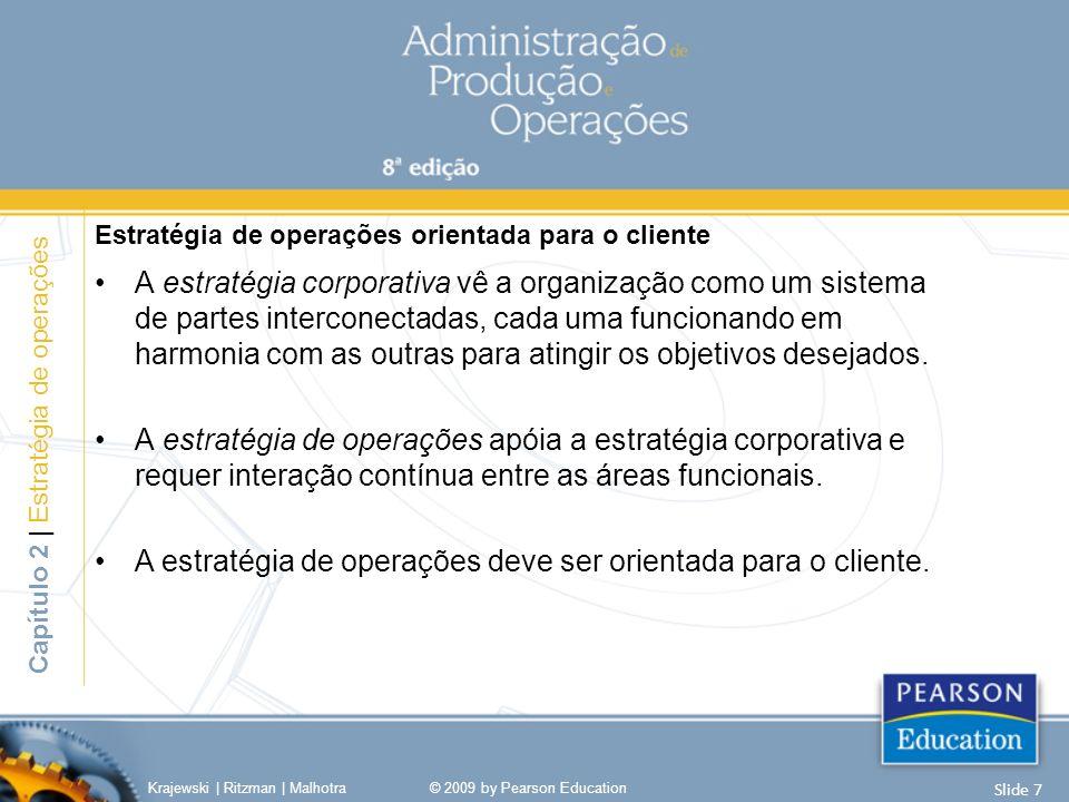 A estratégia de operações deve ser orientada para o cliente.