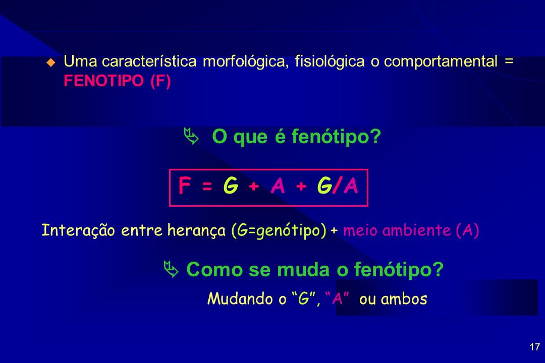 F = G + A + G/A  O que é fenótipo  Como se muda o fenótipo