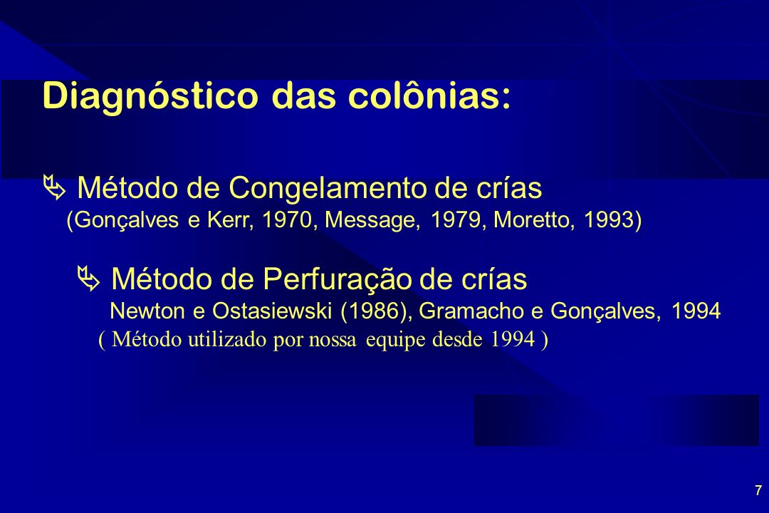 Diagnóstico das colônias: