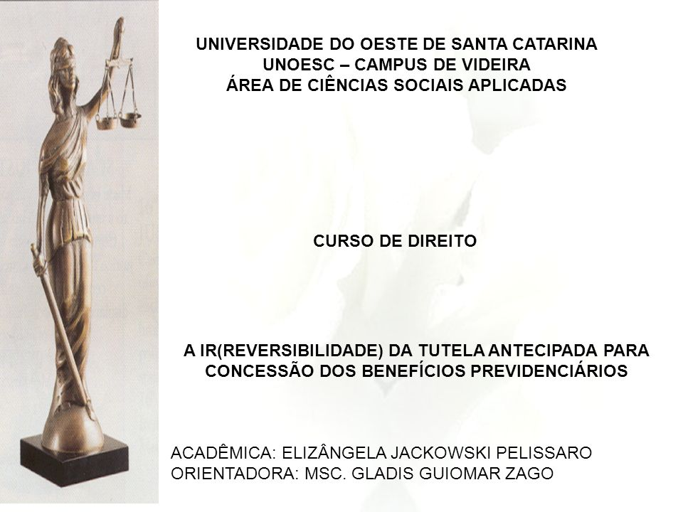 UNIVERSIDADE DO OESTE DE SANTA CATARINA UNOESC – CAMPUS DE VIDEIRA