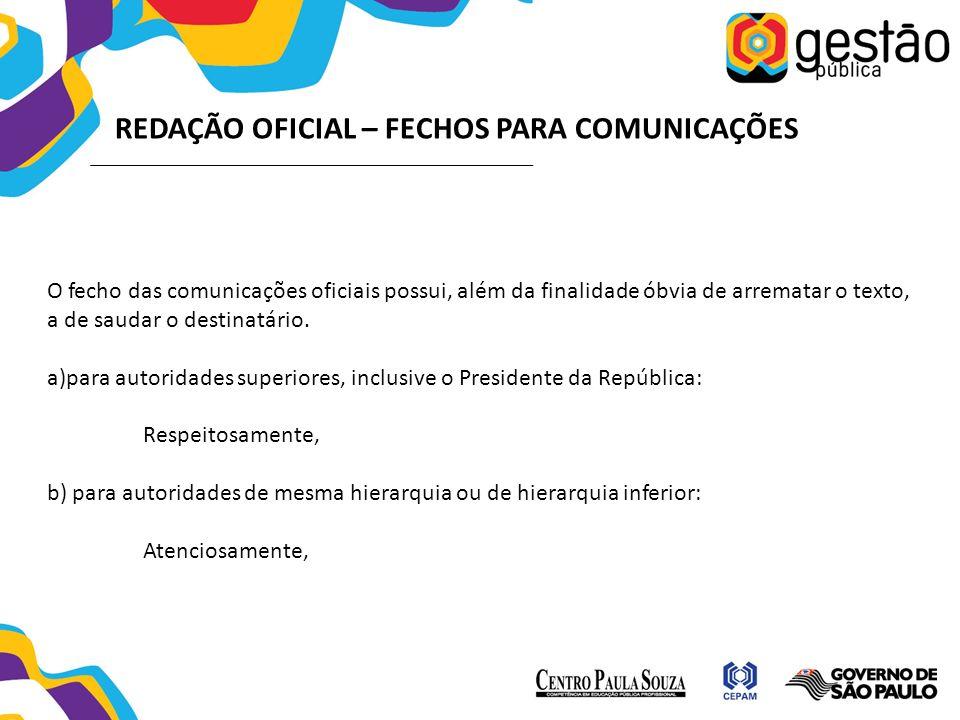 REDAÇÃO OFICIAL – FECHOS PARA COMUNICAÇÕES