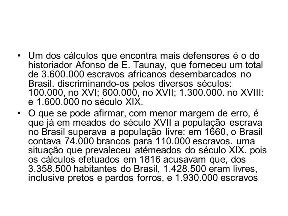 Um dos cálculos que encontra mais defensores é o do historiador Afonso de E. Taunay, que forneceu um total de 3.600.000 escravos africanos desembarcados no Brasil. discriminando-os pelos diversos séculos: 100.000, no XVI; 600.000, no XVII; 1.300.000. no XVIII: e 1.600.000 no século XIX.