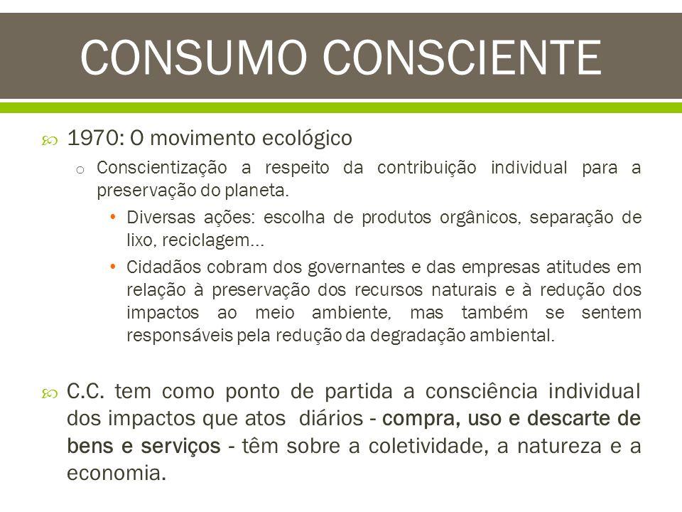 CONSUMO CONSCIENTE 1970: O movimento ecológico