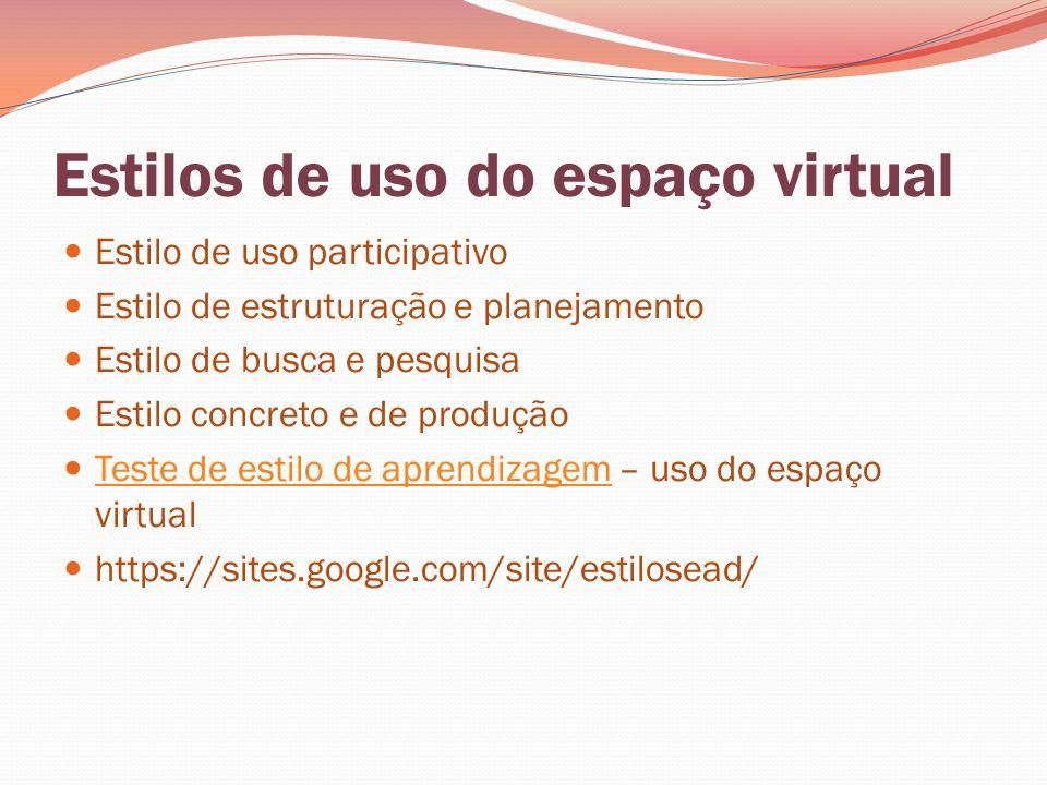Estilos de uso do espaço virtual