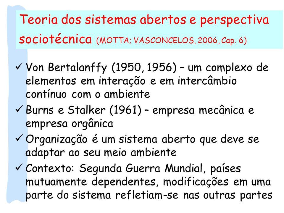 Teoria dos sistemas abertos e perspectiva sociotécnica (MOTTA; VASCONCELOS, 2006, Cap. 6)