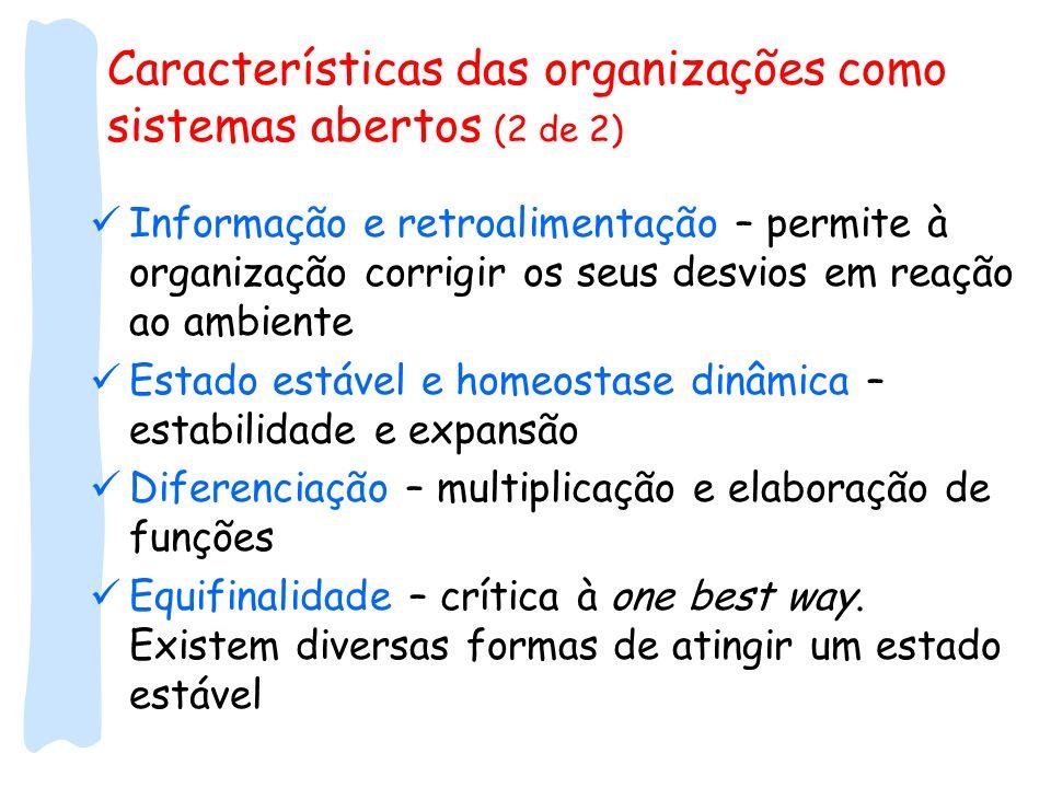 Características das organizações como sistemas abertos (2 de 2)