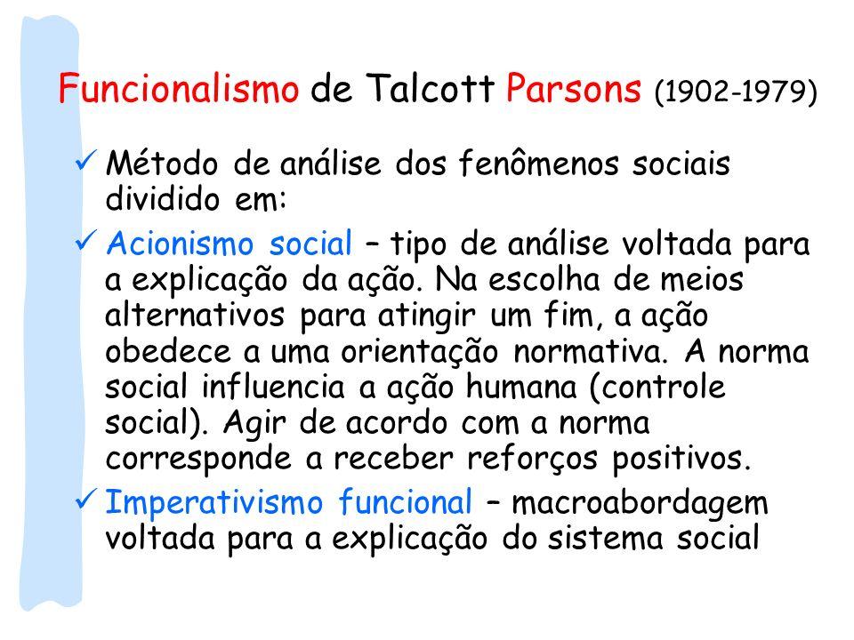 Funcionalismo de Talcott Parsons (1902-1979)