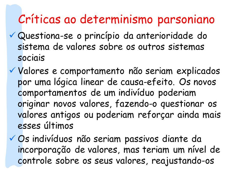 Críticas ao determinismo parsoniano