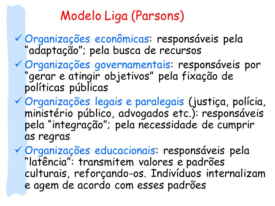 Modelo Liga (Parsons) Organizações econômicas: responsáveis pela adaptação ; pela busca de recursos.