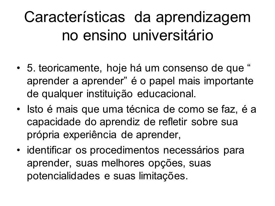 Características da aprendizagem no ensino universitário