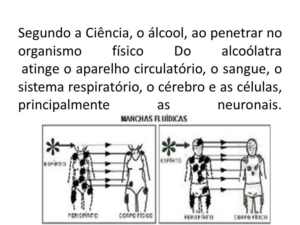 Segundo a Ciência, o álcool, ao penetrar no organismo físico Do alcoólatra atinge o aparelho circulatório, o sangue, o sistema respiratório, o cérebro e as células, principalmente as neuronais.