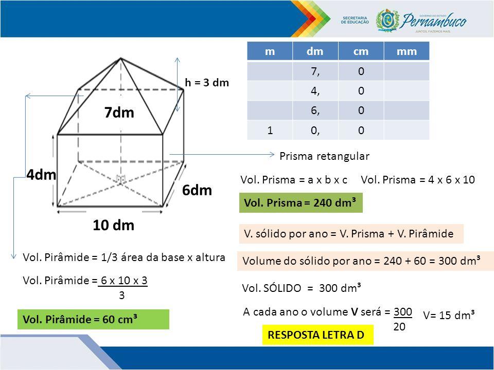 7dm 4dm 6dm 10 dm m dm cm mm 7, 4, 6, 1 0, h = 3 dm Prisma retangular