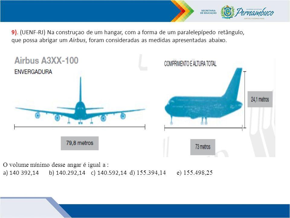 9). (UENF-RJ) Na construçao de um hangar, com a forma de um paralelepípedo retângulo,