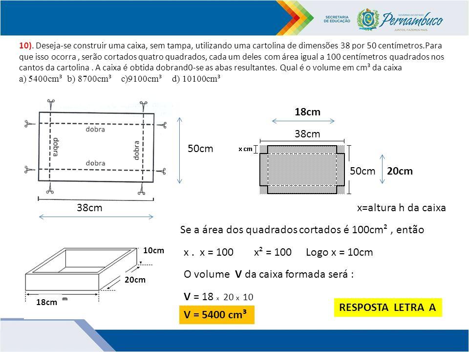 Se a área dos quadrados cortados é 100cm² , então