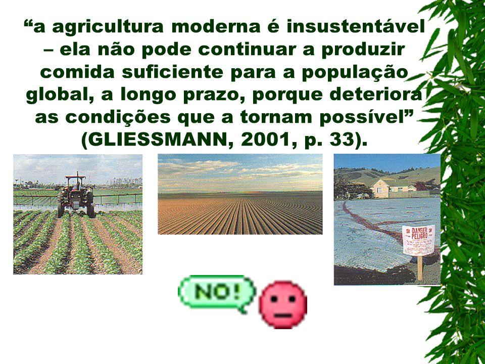 a agricultura moderna é insustentável – ela não pode continuar a produzir comida suficiente para a população global, a longo prazo, porque deteriora as condições que a tornam possível (GLIESSMANN, 2001, p.