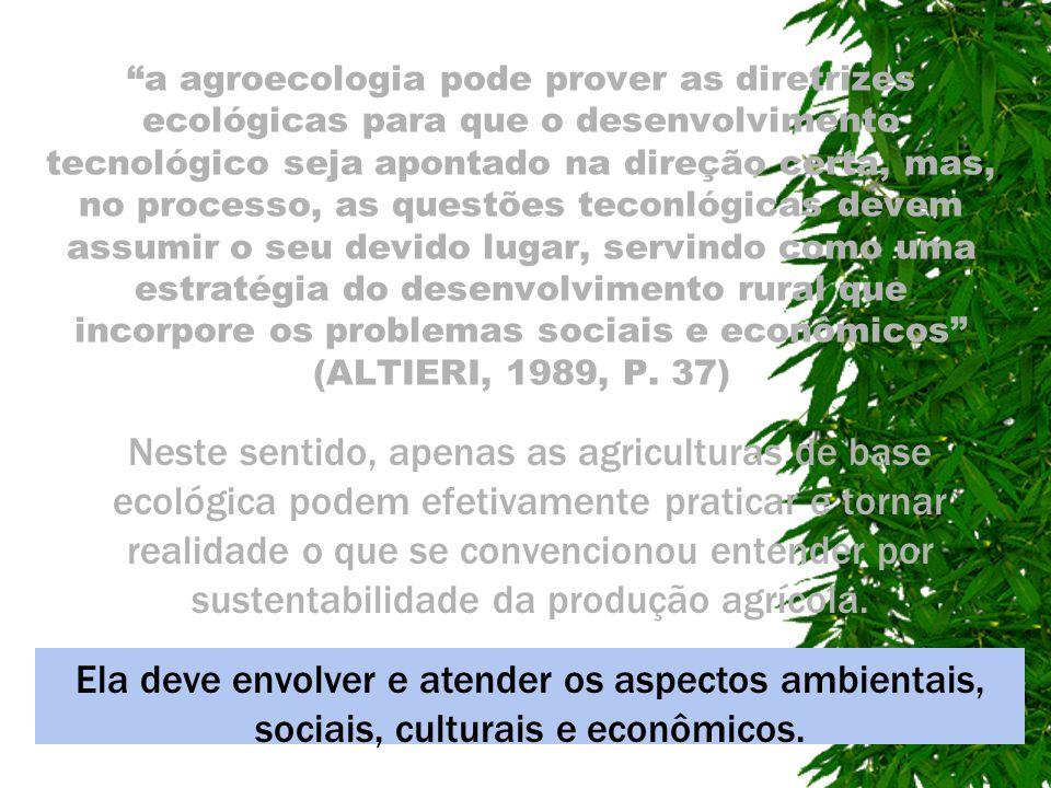 a agroecologia pode prover as diretrizes ecológicas para que o desenvolvimento tecnológico seja apontado na direção certa, mas, no processo, as questões teconlógicas devem assumir o seu devido lugar, servindo como uma estratégia do desenvolvimento rural que incorpore os problemas sociais e econômicos (ALTIERI, 1989, P. 37)