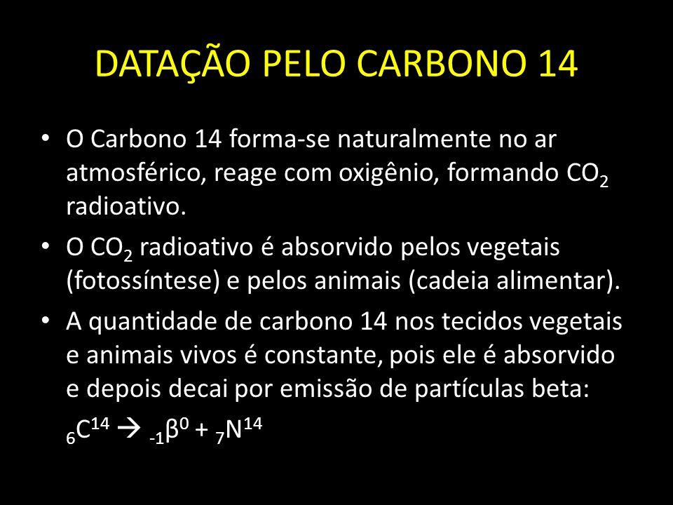 DATAÇÃO PELO CARBONO 14 O Carbono 14 forma-se naturalmente no ar atmosférico, reage com oxigênio, formando CO2 radioativo.