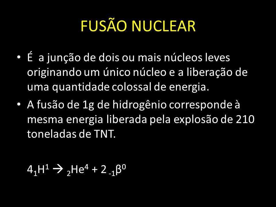 FUSÃO NUCLEAR É a junção de dois ou mais núcleos leves originando um único núcleo e a liberação de uma quantidade colossal de energia.