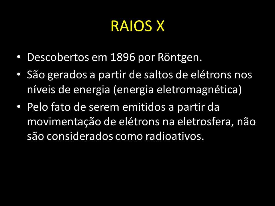 RAIOS X Descobertos em 1896 por Röntgen.