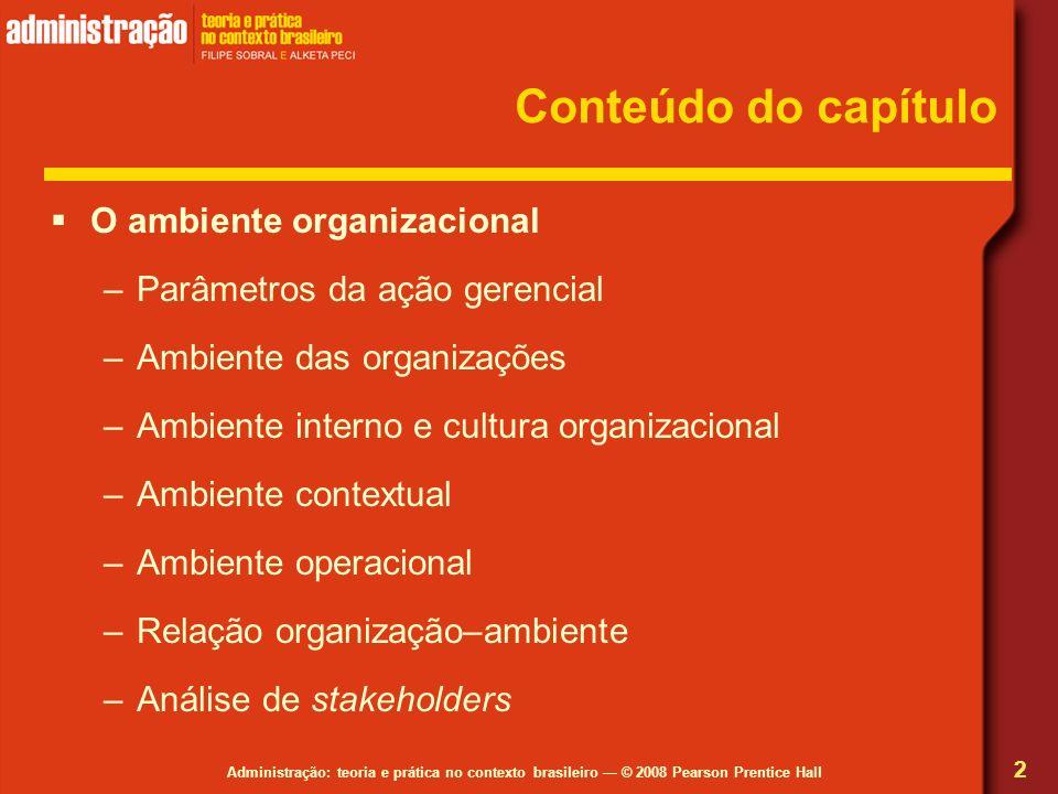 Conteúdo do capítulo O ambiente organizacional