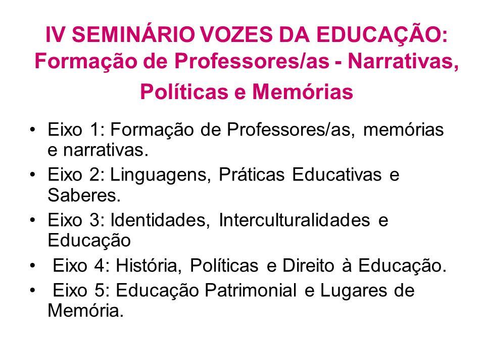 IV SEMINÁRIO VOZES DA EDUCAÇÃO: Formação de Professores/as - Narrativas, Políticas e Memórias