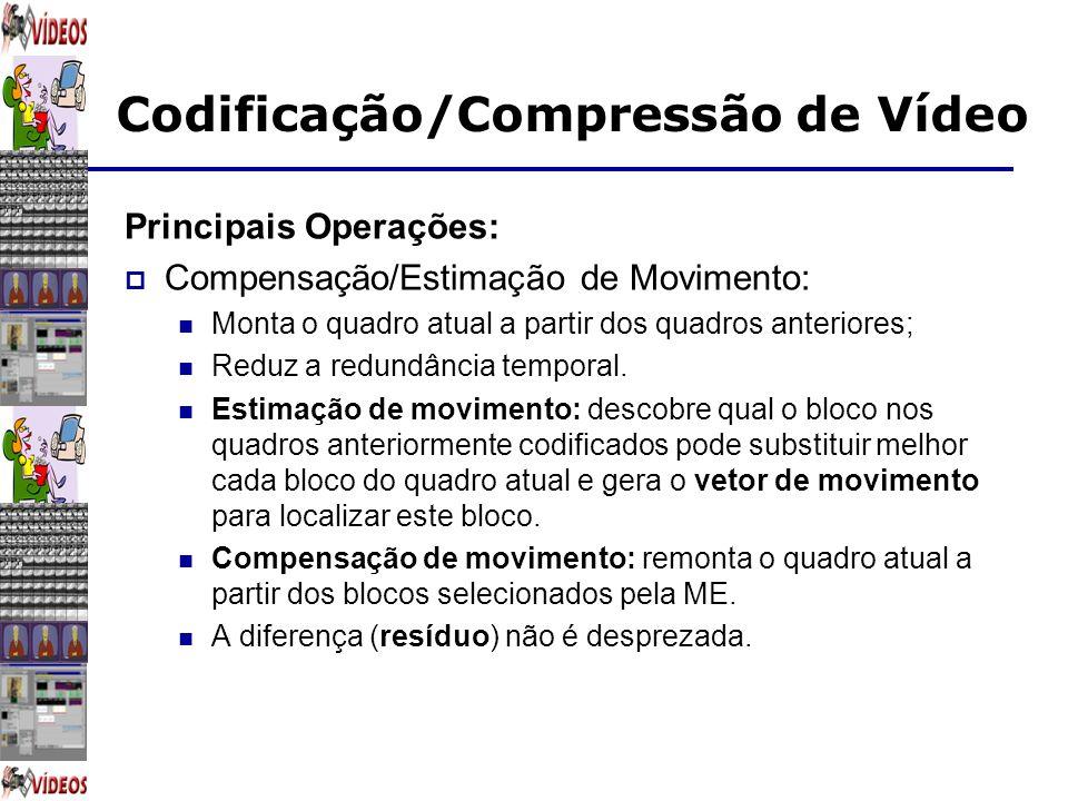 Principais Operações: Compensação/Estimação de Movimento: