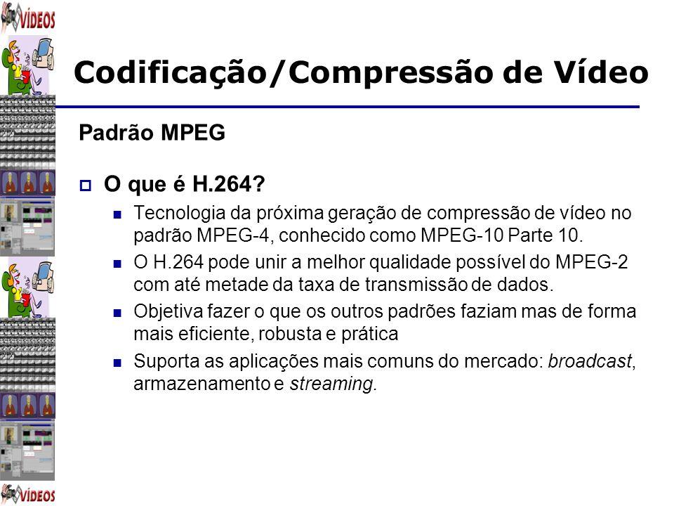 Padrão MPEG O que é H.264 Tecnologia da próxima geração de compressão de vídeo no padrão MPEG-4, conhecido como MPEG-10 Parte 10.