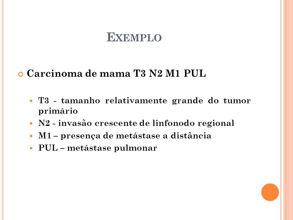 Exemplo Carcinoma de mama T3 N2 M1 PUL