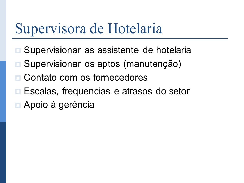 Supervisora de Hotelaria