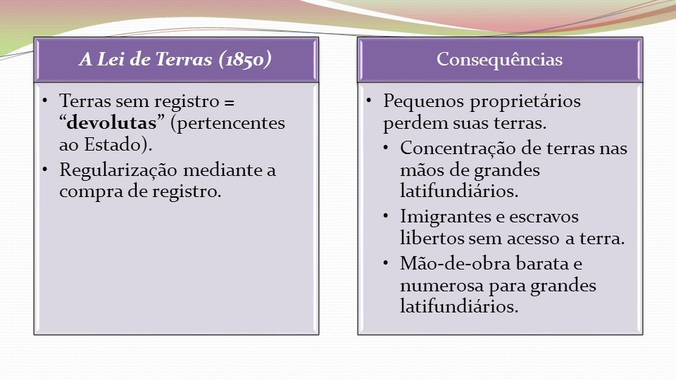 A Lei de Terras (1850)Terras sem registro = devolutas (pertencentes ao Estado). Regularização mediante a compra de registro.