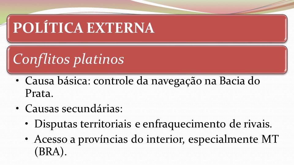 POLÍTICA EXTERNAConflitos platinos. Causa básica: controle da navegação na Bacia do Prata. Causas secundárias:
