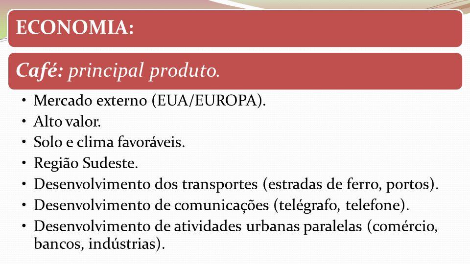 ECONOMIA: Café: principal produto. Mercado externo (EUA/EUROPA). Alto valor. Solo e clima favoráveis.