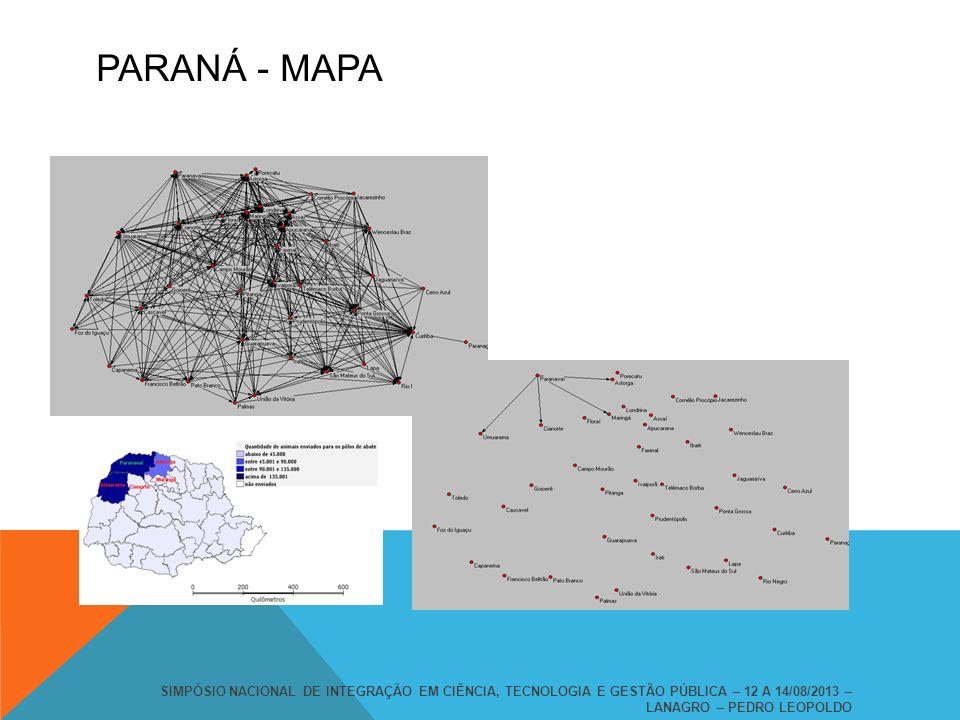 PARANÁ - MAPA SIMPÓSIO NACIONAL DE INTEGRAÇÃO EM CIÊNCIA, TECNOLOGIA E GESTÃO PÚBLICA – 12 A 14/08/2013 – LANAGRO – PEDRO LEOPOLDO.