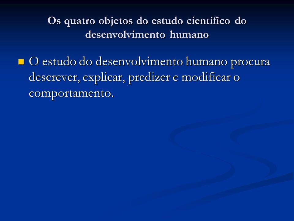 Os quatro objetos do estudo científico do desenvolvimento humano