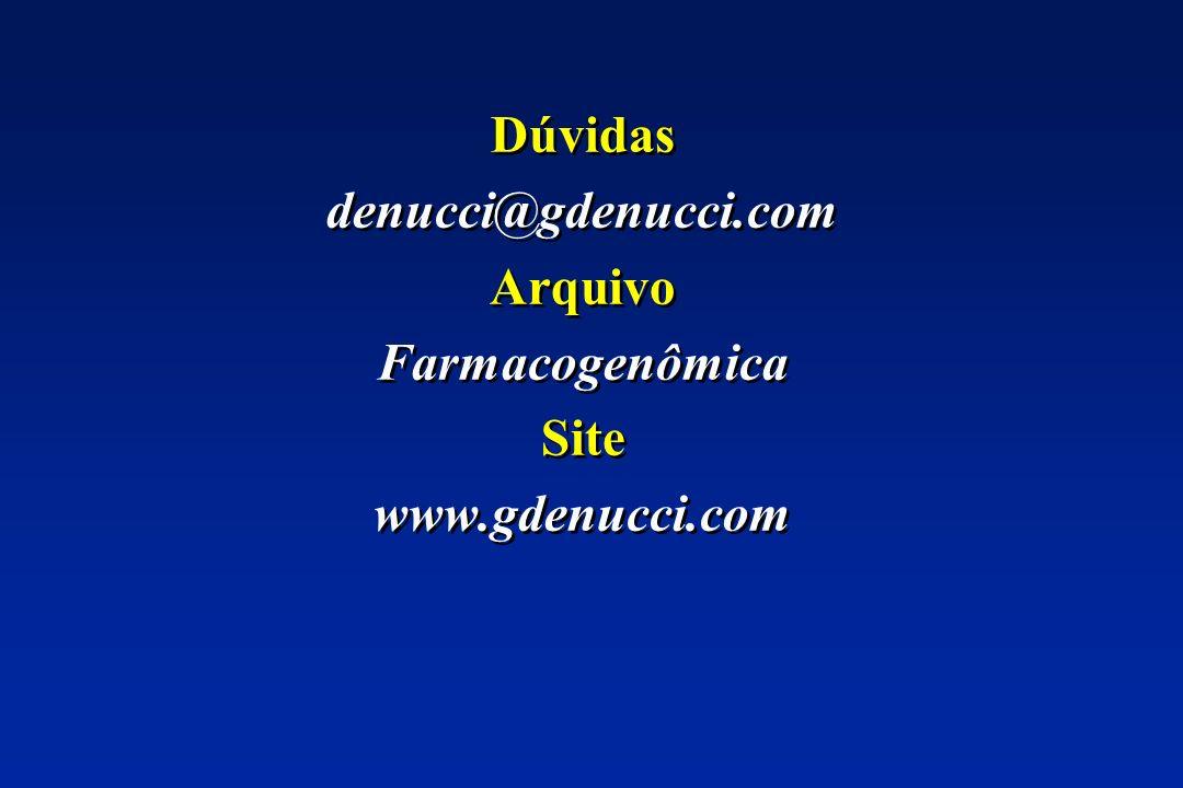 Dúvidas denucci@gdenucci.com Arquivo Farmacogenômica Site www.gdenucci.com